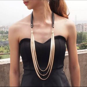 New Boho Multi Layers Leather Snake Chain Necklace
